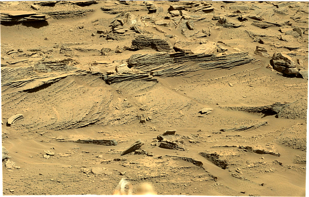 Curiosity Rover Panoramic View of Mars Sol 1277 – Click to enlarge
