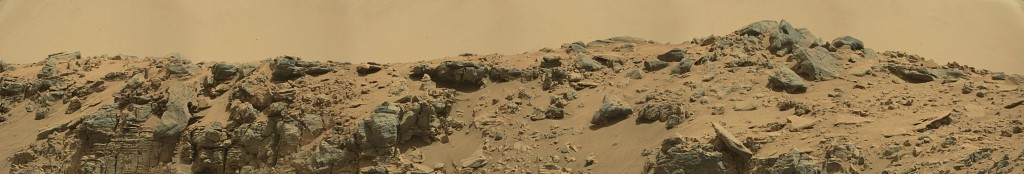 Curiosity Rover Panoramic View of Mars Sol 712 – Click to enlarge
