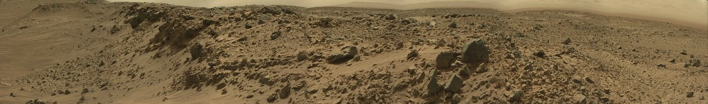 Curiosity Rover Panoramic View of Mars Sol 713 – Click to enlarge
