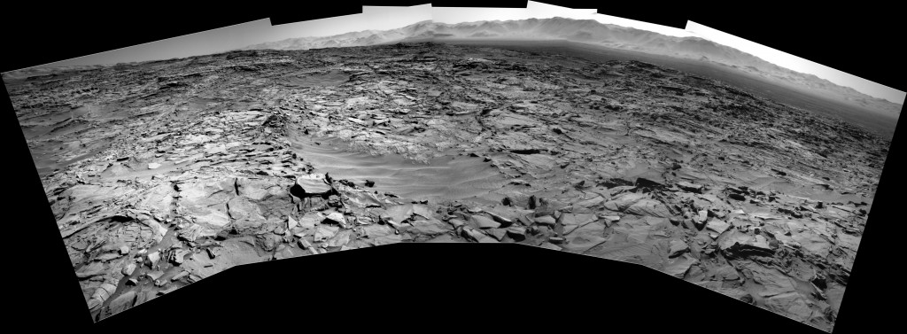 Curiosity Rover Panoramic View 3 of Mars Sol 1282 – Click to enlarge