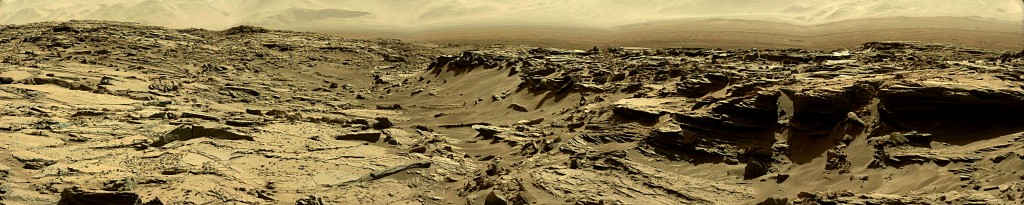 Curiosity Rover Panoramic View of Mars Sol 1284 – Click to enlarge