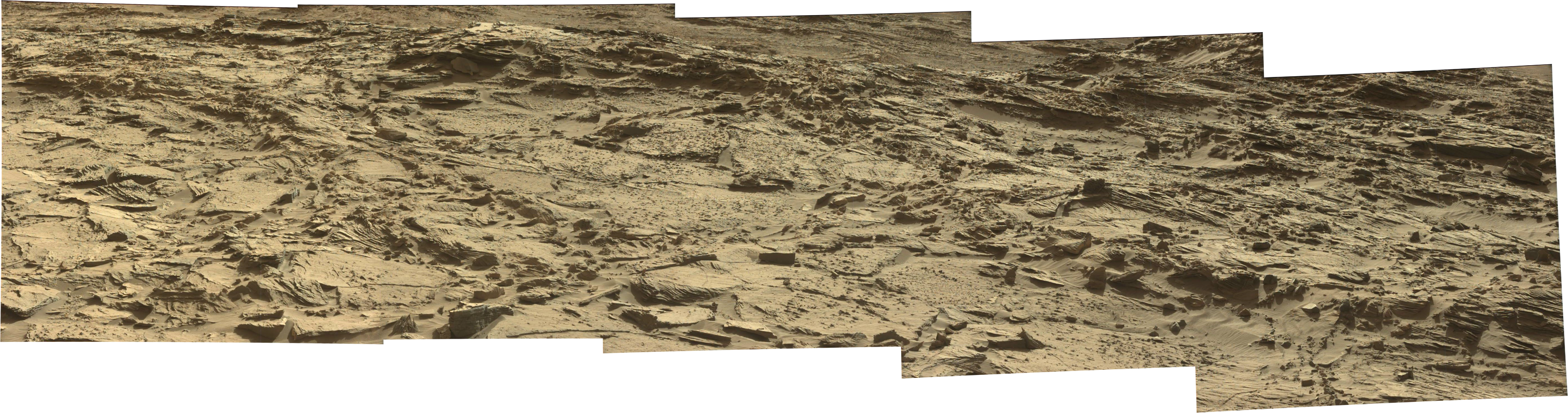 Curiosity Rover Panoramic View 1 of Mars Sol 1296 – Click to enlarge