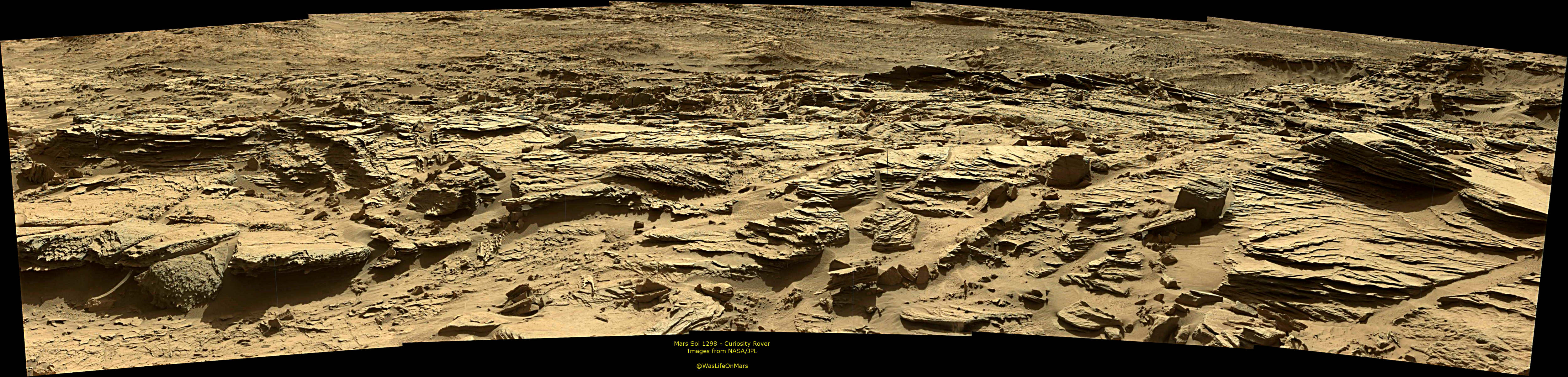 Curiosity Rover Panoramic View 1 of Mars Sol 1298 – Click to enlarge