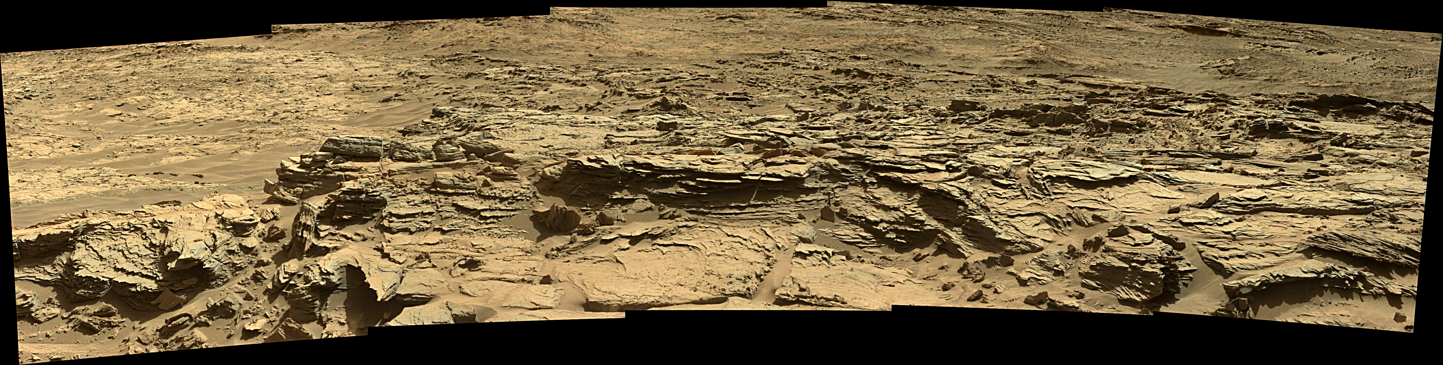 Curiosity Rover Panoramic View 1 of Mars Sol 1301– Click to enlarge