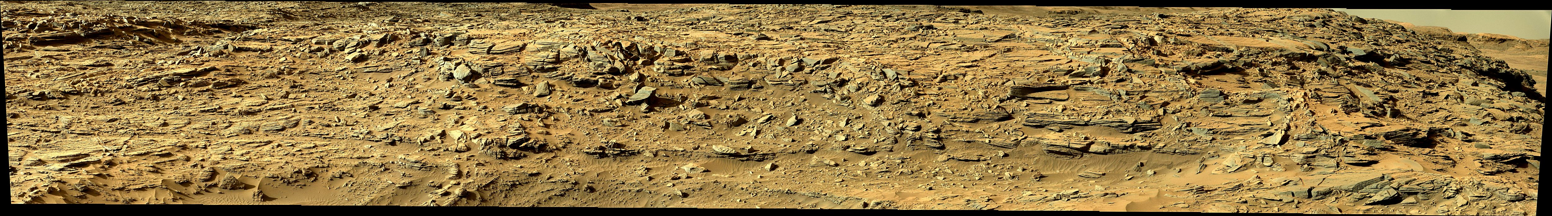 panoramic curiosity rover view 2 enhanced - sol 1301 - was life on mars