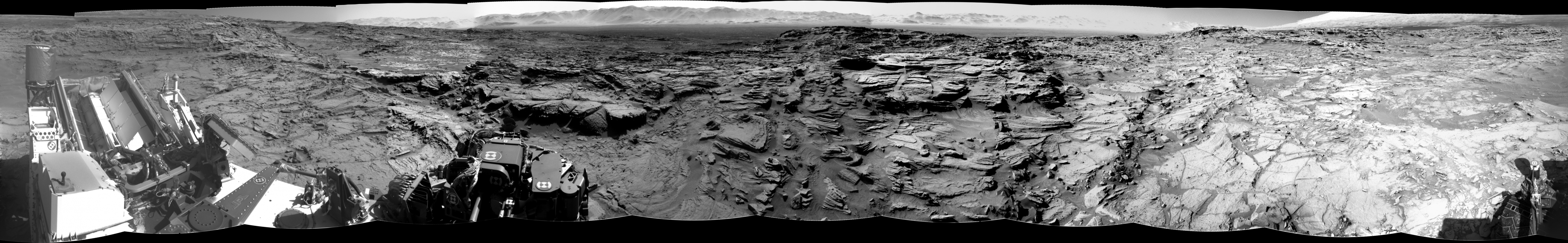 Curiosity Rover Panoramic View of Mars Sol 1301 B&W – Click to enlarge