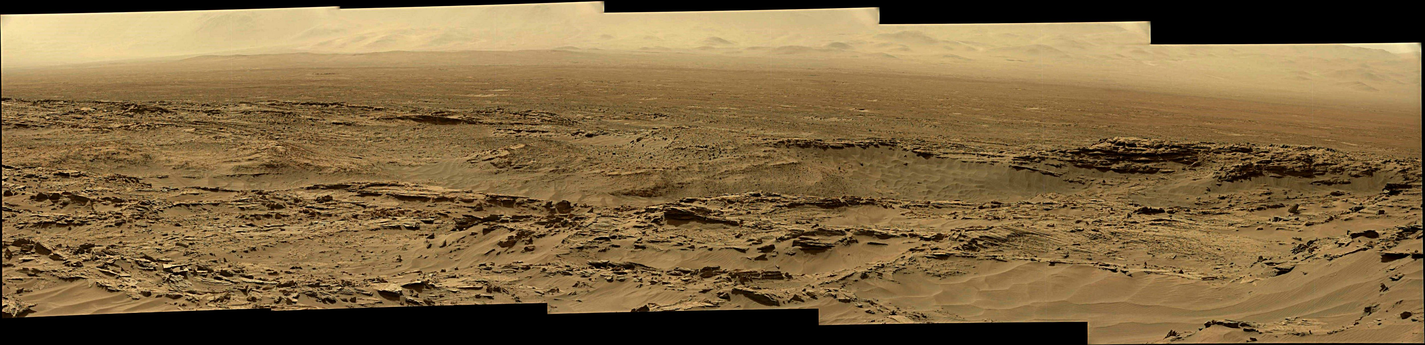 panoramic curiosity rover view 1 enhanced - sol 1344 - was life on mars