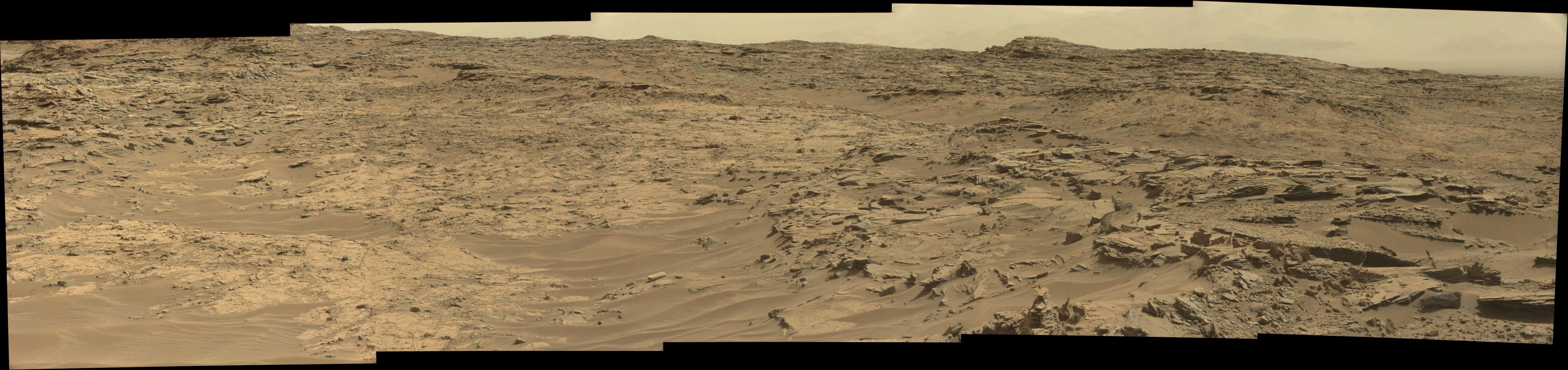 Curiosity Rover Panoramic View 1 of Mars Sol 1349 – Click to enlarge