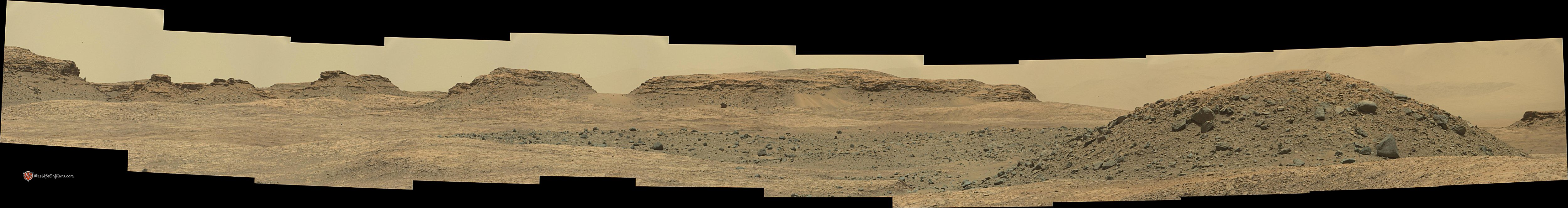 panoramic curiosity rover view 1e - sol 1387 - was life on mars