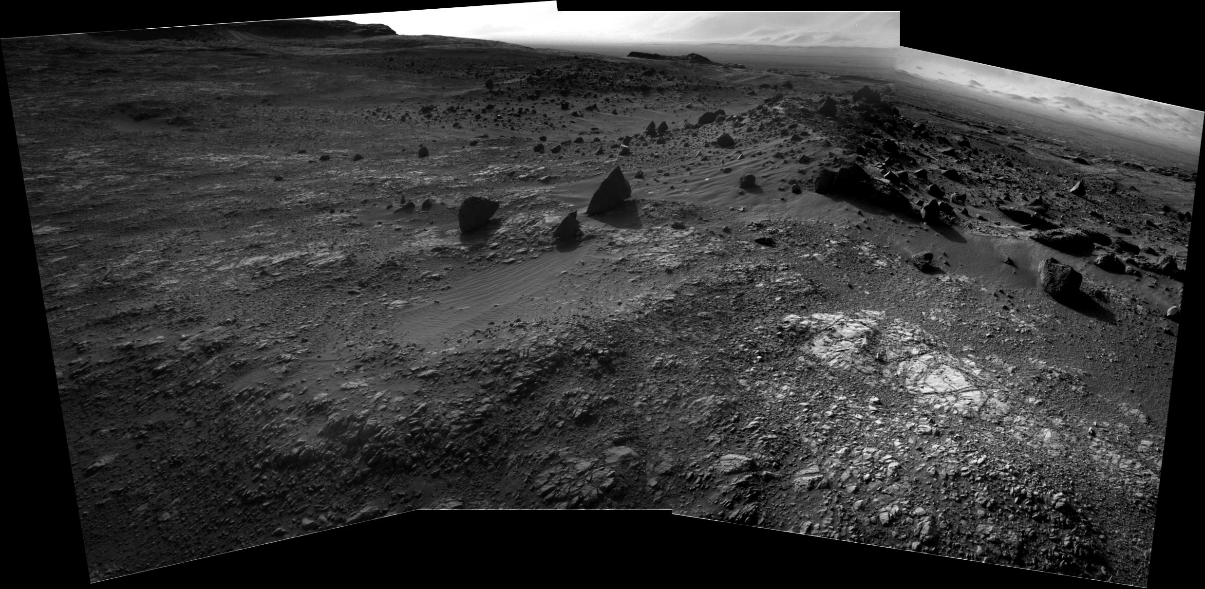 Curiosity Rover Composite B&W View 5 of Mars Sol 1405 – Click to enlarge