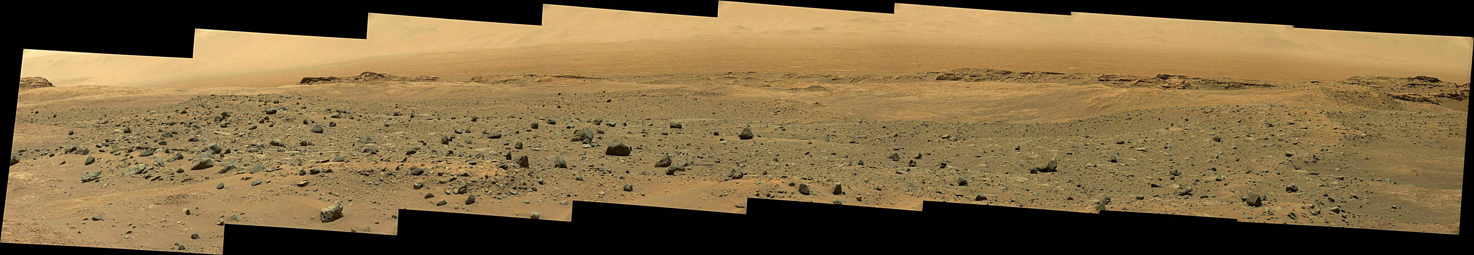 Curiosity Rover Panoramic View of Mars Sol 1402 – Click to enlarge