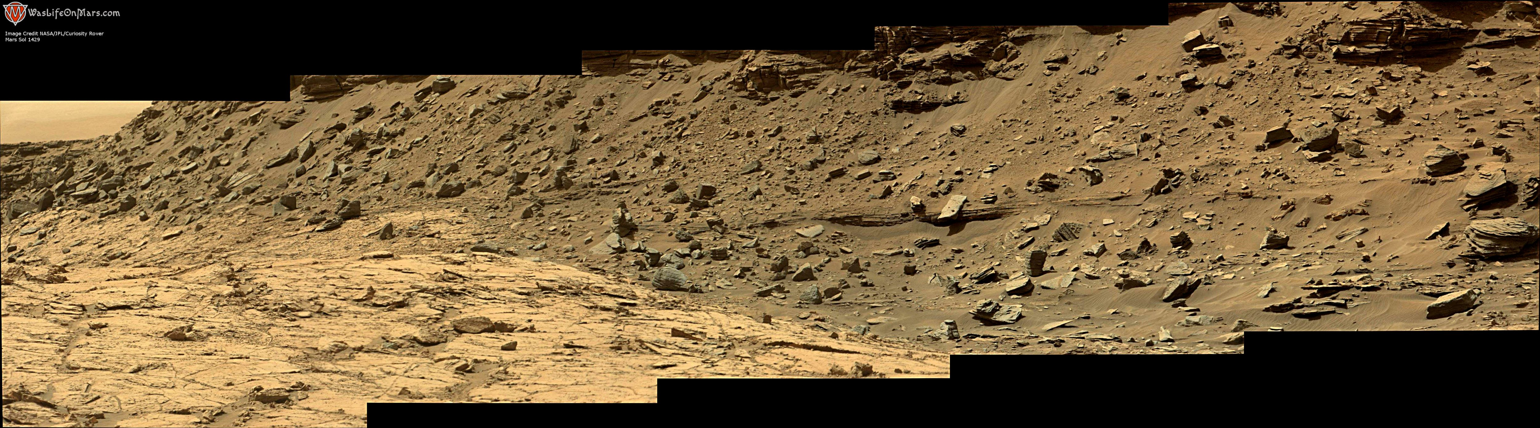panoramic curiosity rover view 1e - sol 1429 - was life on mars