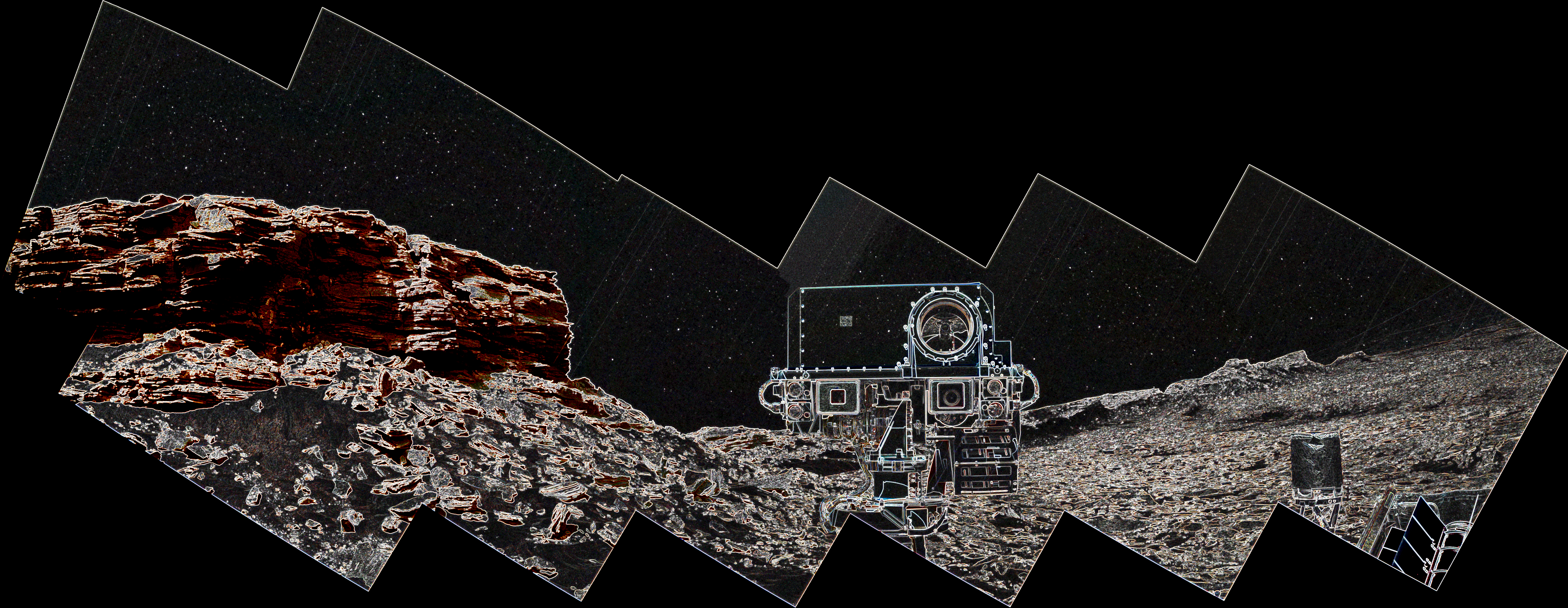 panoramic-curiosity-rover-view-mahli-1e-with-edge-detection-sol-1463-was-life-on-mars